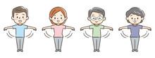 手を振り運動する人々