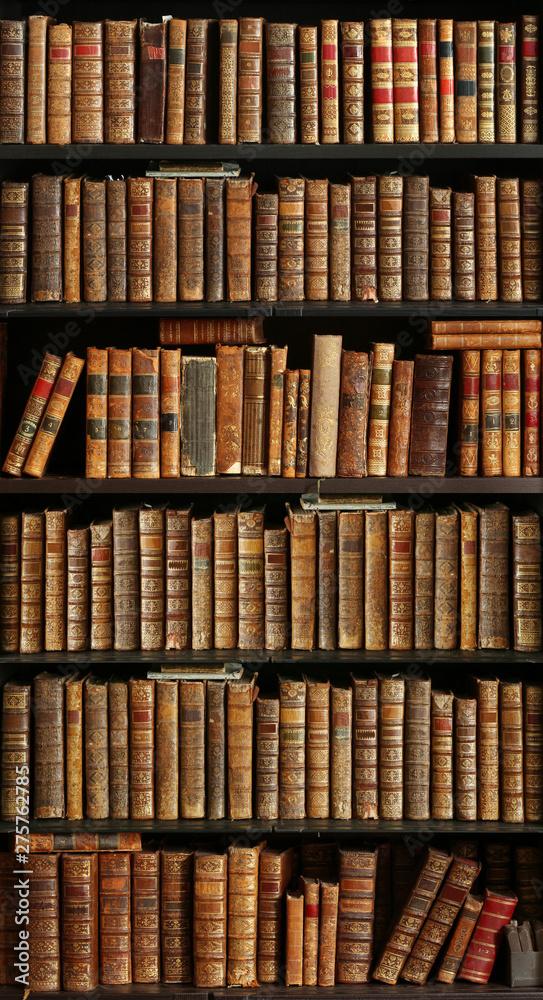 Fototapety, obrazy: old books on wooden shelf