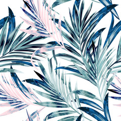 FototapetaFashion vector illustration with tropical palm leaves in pink and blue color, watercolor style