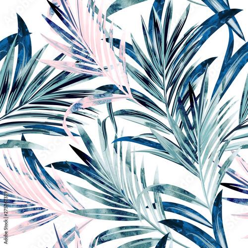 fasonuje-wektorowa-ilustracje-z-tropikalnymi-palmowymi-liscmi-w-rozowym-i-blekitnym-kolorze-akwarela-styl