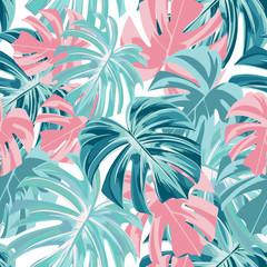 Fototapeta Do salonu kosmetycznego Floral seamless tropical pattern with leaves