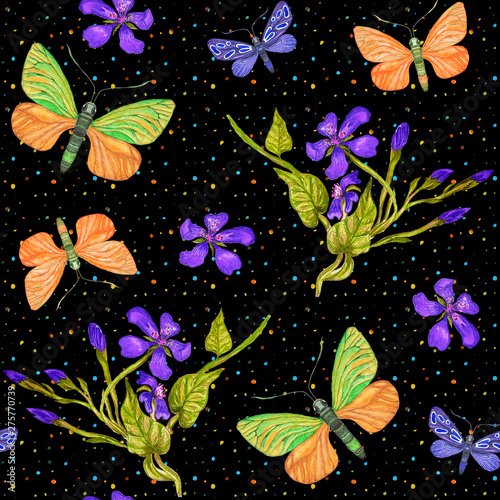 Tuinposter Summer watercolor seamless pattern with butterflies, exotic flowers