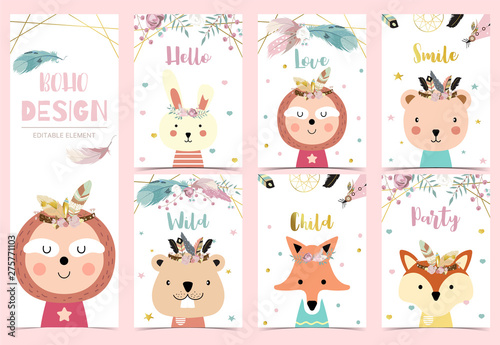 Collection of boho cards set with feather,dreamcatcher,bear,sloth,llama.Vector illustration for birthday invitation,postcard and sticker.Editable element