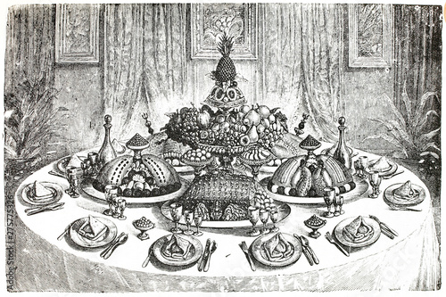 French presentation in a table. Antique illustration. Book, 1892. Tableau sur Toile