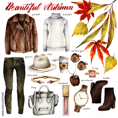 Watercolor Fashion Illustration. set of trendy accessories. Beautiful autumn. jacket, sweater, jeans, hat, coffee, earrings, pendant, bracelet, ring, bag, lipstick, watch, boots Wall mural