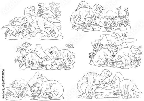 cartoon prehistoric dinosaurs, coloring book, set of images Canvas Print