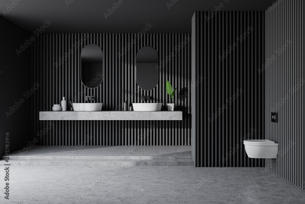 Fototapety, obrazy: Gray wooden bathroom, double sink and toilet