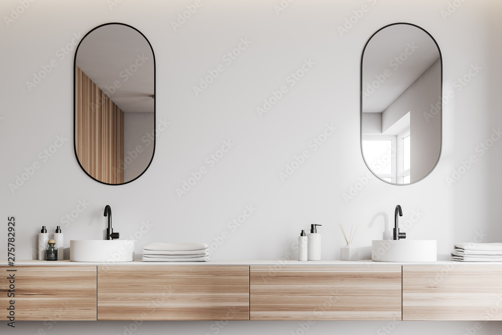 Fototapety, obrazy: White bathroom interior with double sink