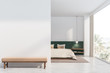 canvas print picture White and green bedroom with mock up wall