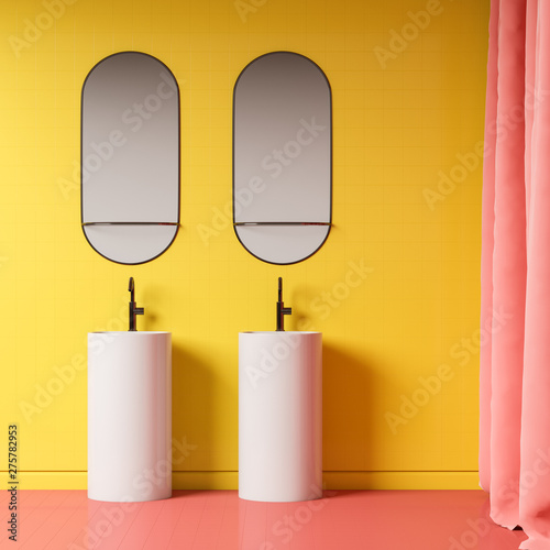 Canvas Prints Countryside Yellow bathroom interior with double sink