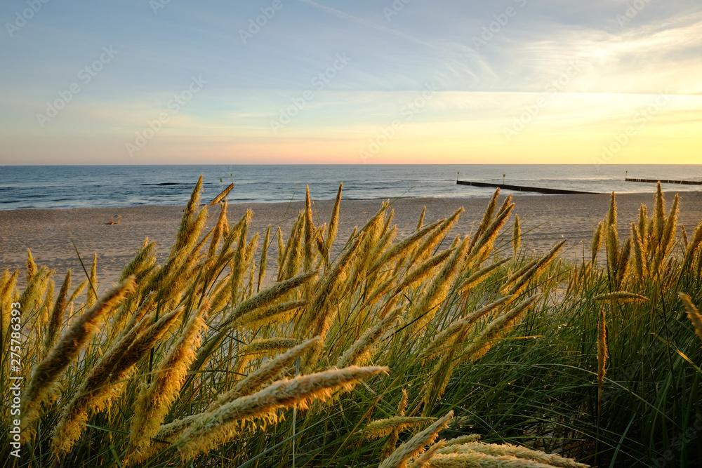 Fototapeta Wschód słońca na wybrzeżu Morza Bałtyckiego,Kołobrzeg,Polska.