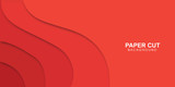Vector abstract background - modern concept of red paper art style, banner.