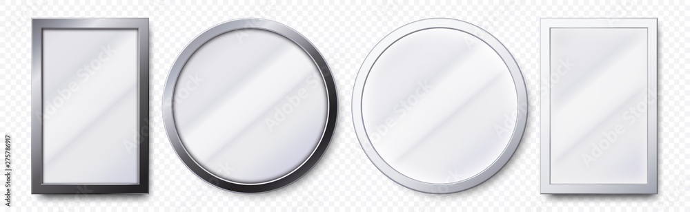 Fototapeta Realistic mirrors. Metal round and rectangular mirror frame, white mirrors template. Makeup or interior furniture reflecting glass surfaces 3D isolated icons vector set