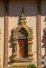 Ornate Window To Hall At Wat Sri Bun Rueang, Chiang Rai, Thailand
