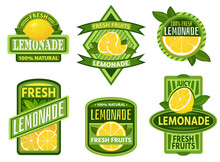 Lemonade Badges. Lemon Drink Emblem Badge, Fresh Fruits Lemons Juice Vintage Lemonades Emblems. Drinks Bars Sticker, Detox Lemonade Or Fruits Fresh Juicy Lemon Label. Isolated Vector Icons Set