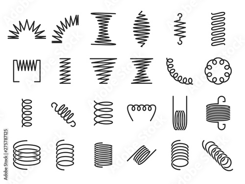 Obraz Spring coils. Metal spiral springs, metallic coil and linear spirals silhouette. Vape or machine steel coil, twisted spiral flexibility spring part. Isolated vector icon set - fototapety do salonu