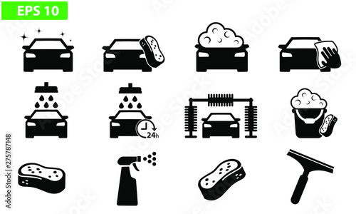 Car wash icon black vector flat design set icons washing machine