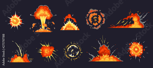 Cartoon explosion  Exploding bomb, atomic explode effect and comic