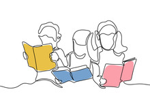 Group Of Children Read Book Continuous One Line Drawing