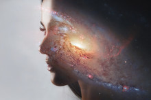 The Universe Inside Us, The Profile Of A Young Woman And Space, The Effect Of Double Exposure. Scientific Concept. The Brain And Creativity. Elements Of This Image Furnished By NASA