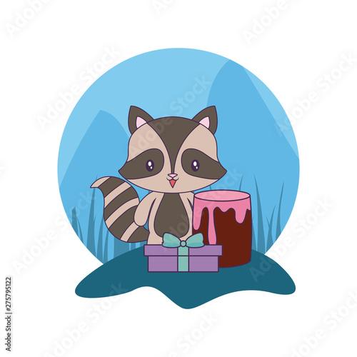 Printed kitchen splashbacks Cats cute raccoon with cake of birthday and gift box
