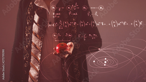 History of science, concept. Isaac Newton with Apple in hand Wallpaper Mural