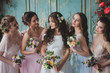canvas print picture Beautiful young woman bride with friends. A wedding celebration