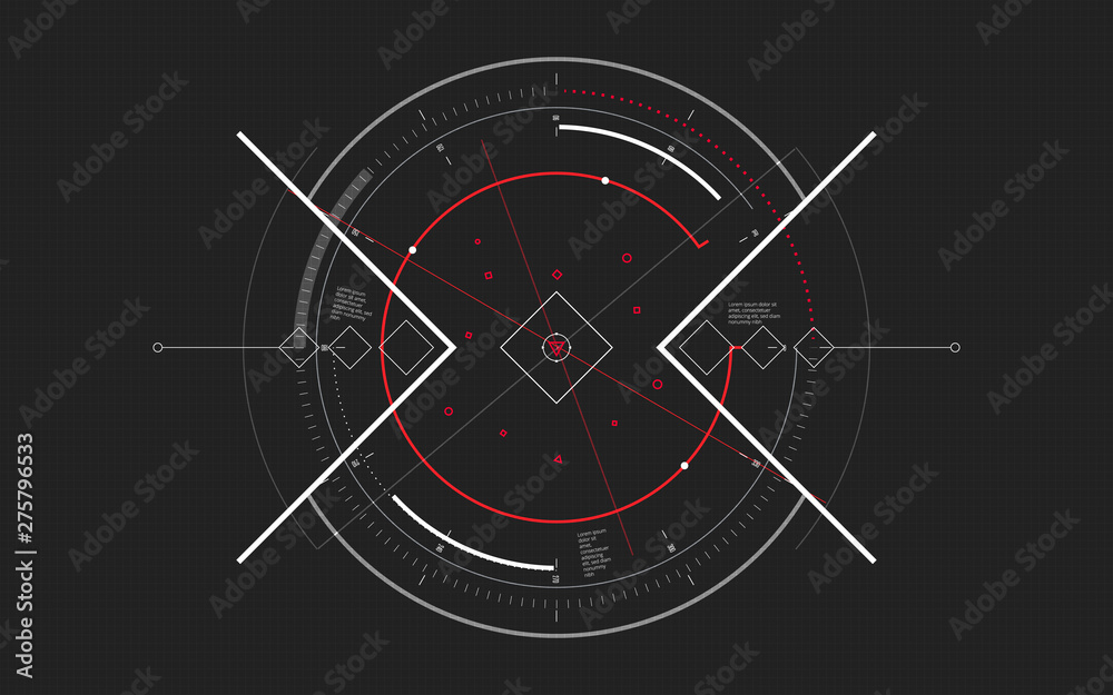 Fototapeta Sci-fi futuristic spaceship crosshair. HUD user interface. Techno target screen elements. Abstract Technology background. Modern aiming system. Vector illustration