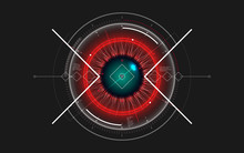 Digital Eye HUD UI. Abstract Technology Background. Information Protection And Data Security Technology. Big Data Monitoring Concept. Spaceship Holographic Target Dashboard. Vector Illustration