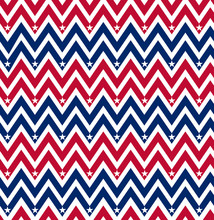 Red White Blue Chevron Seamless Pattern With Stars