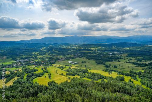 Türaufkleber Rosa dunkel Mountain landscape. Karkonosze, mountains in Poland.