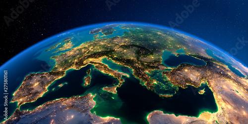 Canvas Print Detailed Earth. Europe. Mediterranean Sea