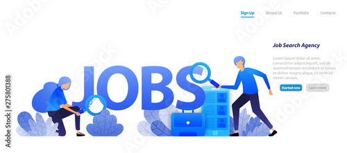 Agents Who Find Jobs For Job Seekers And Companies That Need Professional Workers For Career Interview Flat Illustration Concept For Landing Page Web Ui Banner Flyer Poster Template Background Buy This