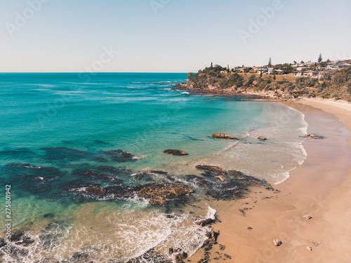 Canvas Print Drone shot of Middle Rock Beach at Lake Cathie, near Port Macquarie on the Mid N