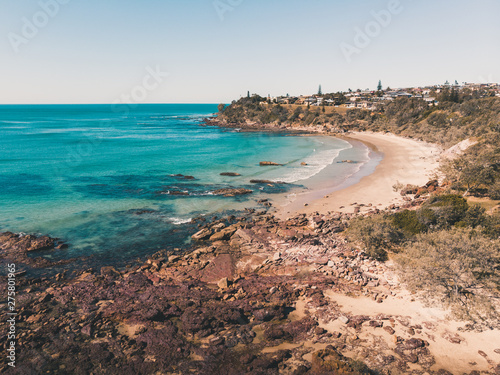 Photo Drone shot of Middle Rock Beach at Lake Cathie, near Port Macquarie on the Mid N