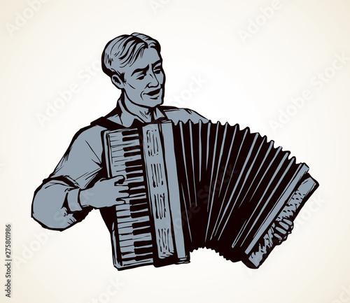 A man plays the accordion. Vector drawing Tapéta, Fotótapéta