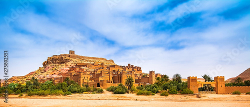 Wall Murals Morocco Amazing view of Kasbah Ait Ben Haddou near Ouarzazate in the Atlas Mountains of Morocco. UNESCO World Heritage Site since 1987. Artistic picture. Beauty world. Panorama