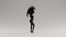 Black Sexy Woman Bad Hair Day 3d Illustration 3d Render