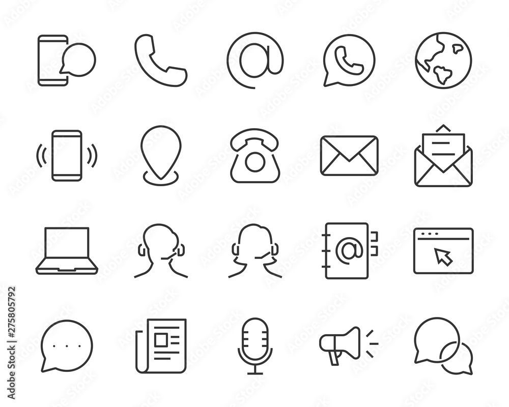 Fototapety, obrazy: set of contact icons, such as support, mobile, phone, address, talk, call center