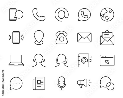 Fotografía set of contact icons, such as support, mobile, phone, address, talk, call center