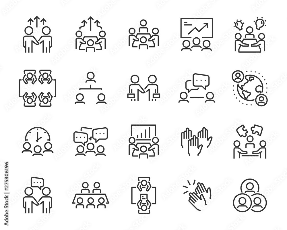 Fototapeta set of meeting icons, such as  group, team, people, conference, leader, discussion