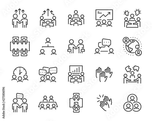 set of meeting icons, such as  group, team, people, conference, leader, discussion Wall mural