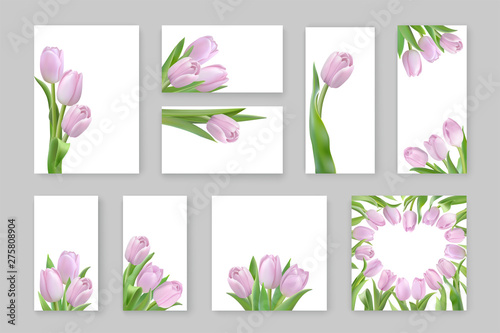 Obraz na plátně Spring templates with pink tulips with place for text
