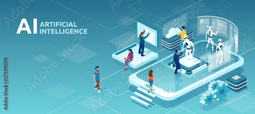 Vector of human artificial intelligence interaction with men and women meeting r Wallpaper Mural