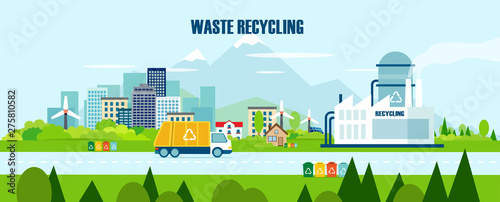 Fotomural Vector concept pure nature, waste recycling