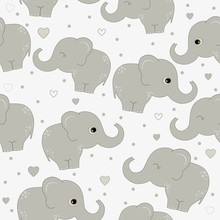 Seamless Pattern With Cute  El...