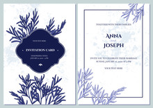 Wedding Invitation Card With Blue And White Rosemary