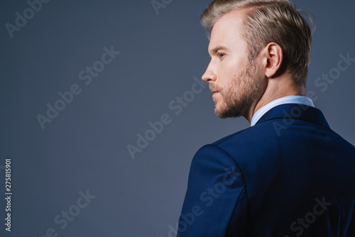 Fotomural  elegance caucasian Successful businessman  with beard close up wear formal suit