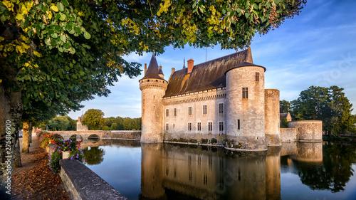 Poster Ecole de Danse Castle or chateau de Sully-sur-Loire at sunset, France