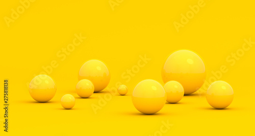 Fotografía  Abstract 3d render of spheres, composition with geometric shapes, modern backgro